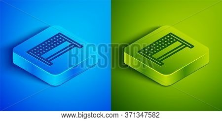 Isometric Line Ribbon In Finishing Line Icon Isolated On Blue And Green Background. Symbol Of Finish