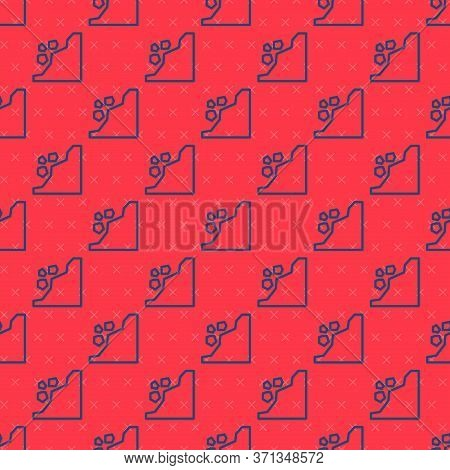 Blue Line Landslide Icon Isolated Seamless Pattern On Red Background. Stones Fall From The Rock. Bou