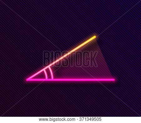 Glowing Neon Line Acute Angle Of 45 Degrees Icon Isolated On Black Background. Vector Illustration