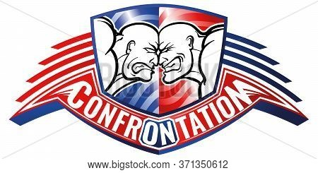Confrontation Of Two Parties, Vs. Rage And Anger On Faces, Against Each Other. Vector Isolated Brigh