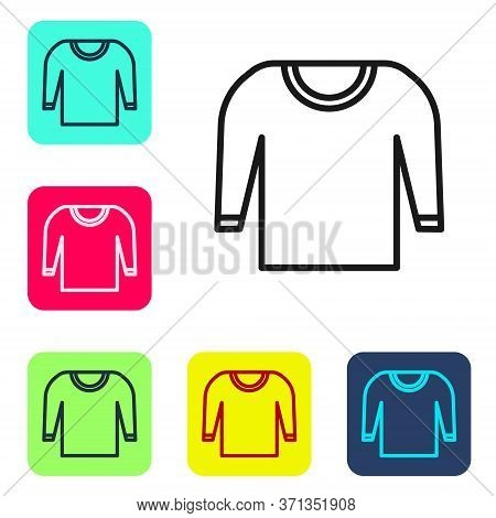 Black Line Sweater Icon Isolated On White Background. Pullover Icon. Set Icons In Color Square Butto