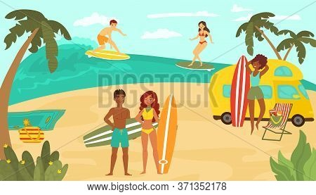 Young People Multinational Race, Black White Female Male Character Training Surfing Ocean Tropical B