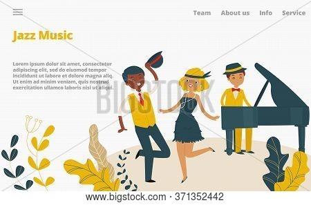 Jazz Music Studio Landing Web Page, Concept Banner Website Template Cartoon Vector Illustration. Com