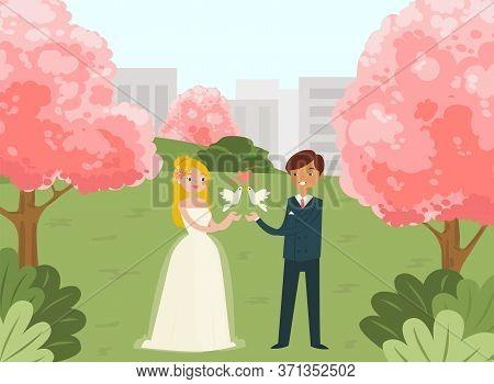 Female Male Lovely Couple Wedding Celebration, Flat Vector Illustration. City Urban National Park, Y