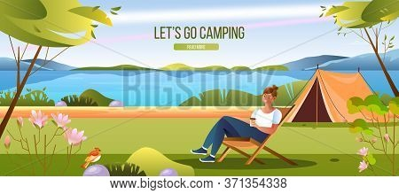 Let's Go Camping Web Banner With Summer Landscape, Tent, Young Female Character, Green Trees. Summer