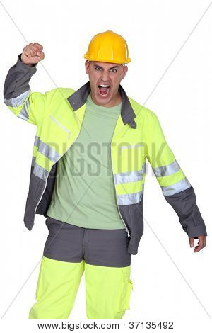 picture of angry tight-fisted builder