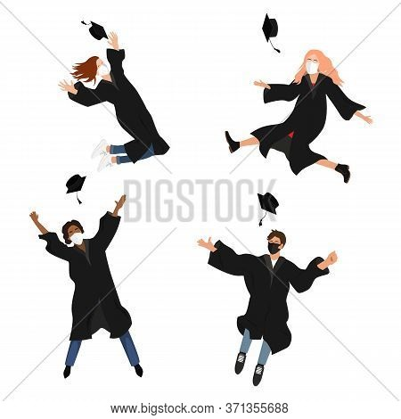 Seamless Border With Happy Graduate Students In Medical Masks. 2020 Grads Jumping And Throwing The M