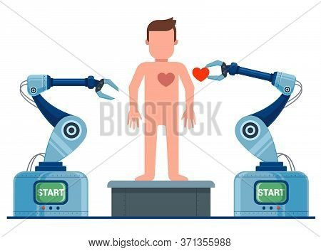 The Creation Of Man On The Conveyor. Robot Revives A Man. Flat Character Vector Illustration.