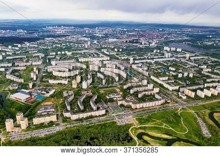 View From The Height Of The Houses And Loshitsky Park In A Residential Area Of Minsk, Spring Loshits