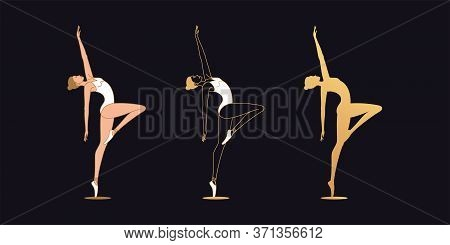 Golden Ballerina Woman In Outline Style. Set Of Silhouette, Ballet Dancer Stands On One Leg, Bends B