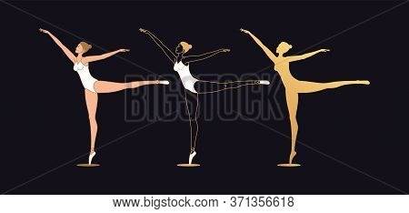 Golden Ballerina Woman In Outline Style. Set Of Silhouette, Ballet Dancer Stands On One Leg, Casts A