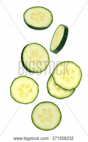 Flowing Vegetables Isolated On White Background With Shallow Depth Of Field