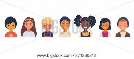 Set Of Smiling Kindergarten Kids Characters. Preschool Children Of Different Races. Little Boys And
