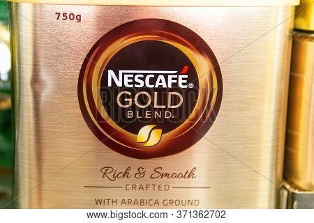 Tyumen, Russia-june 05, 2020: Nescafe Gold Banks On The Shelves Of A Grocery Hypermarket