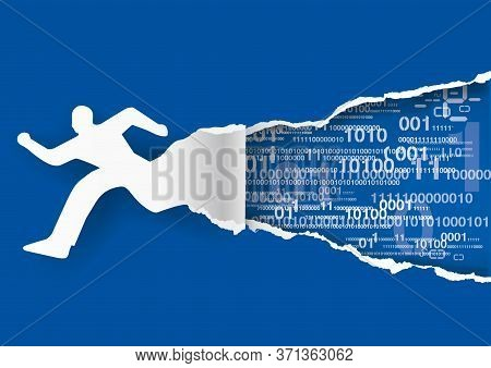 Fast Internet Conection, Man And Binary Codes. Illustration Of Male Silhouette Tearing Blue Paper Wi