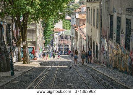 The Oldest Lisbon Funicular Gloria (elevador Da Gloria)