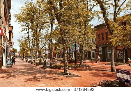 Boulder, Colorado - May 27th, 2020:  Shops, Businesses And Restaurants Along Pearl Street Mall, A Pe