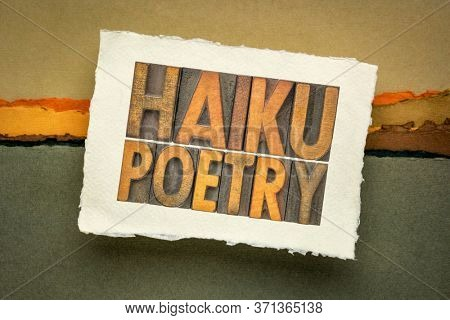 haiku poetry - a very short form of Japanese poetry - isolated word abstract in vintage letterpress wood type in a sketchbook against abstract landscape
