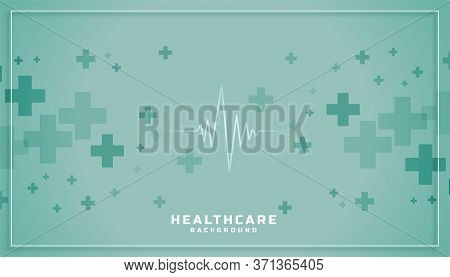 Healthcare Medical Background With Cardiograph Line And Plus Sign