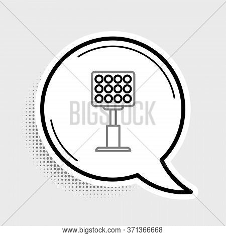 Line Bright Stadium Lights Icon Isolated On Grey Background. Spotlight On A Football Field. Floodlig