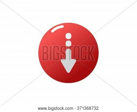 Red Glassy Round Download Button Vector Icon