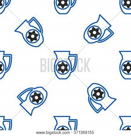 Line Decanter With Star Of David Icon Isolated Seamless Pattern On White Background. Pottery Jug. Or