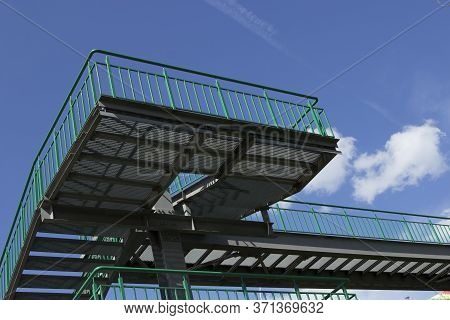 Fragment Of Metal Green Multi-level Staircase, Transition On The Street To The Bridge Or Across The