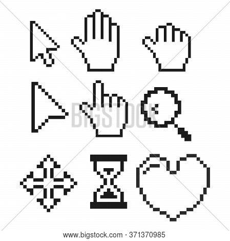 Pixel Cursors Set, Cursor Arrow, Hand Cursor. Computer Mouse Pointer, Mouse Direction. Vector Illust