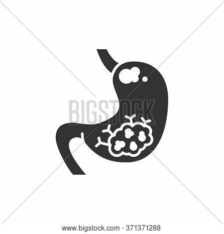 Stomach Cancer Black Glyph Icon. Human Organ Concept. Malignant Neoplasm. Sign For Web Page, Mobile