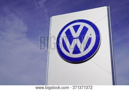 Bordeaux , Aquitaine / France - 10 27 2019 : Volkswagen Dealership Sign Logo Store German Automaker