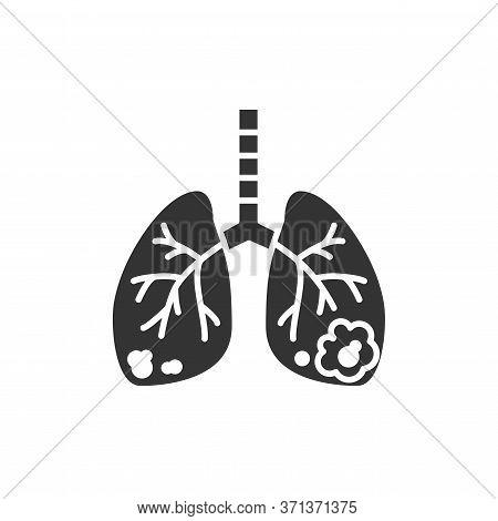 Lungs Cancer Black Glyph Icon. Human Organ Concept. Malignant Neoplasm. Sign For Web Page, Mobile Ap
