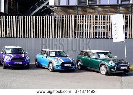 Bordeaux , Aquitaine / France - 10 28 2019 : Mini Car Automobiles Parked At Mini Cooper Dealership F