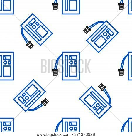 Line Battery Icon Isolated Seamless Pattern On White Background. Accumulator Battery Energy Power An