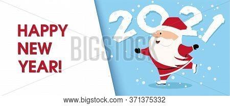 Winter Santa Skating. Christmas Greeting Card With Santa Claus Cartoon. Postcard Santa Claus With Sp