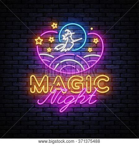 Magic Night Neon Sign Vector. Magic Show Neon Poster, Design Template, Modern Trend Design, Night Si