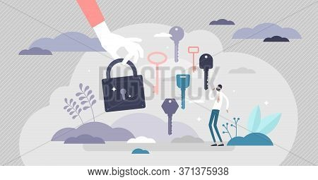 Finding The Right Key Scene Vector Illustration Ir Flat Tiny Persons Concept. Symbolic Solution Find