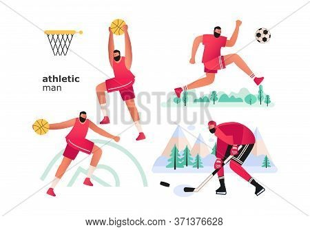 A Set Of Athletes From Popular Sports. A Basketball Player In A Jump, A Football Player Kicking A Ba