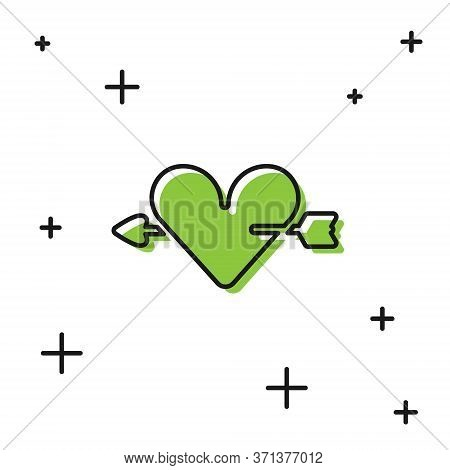 Black Amour Symbol With Heart And Arrow Icon Isolated On White Background. Love Sign. Valentines Sym