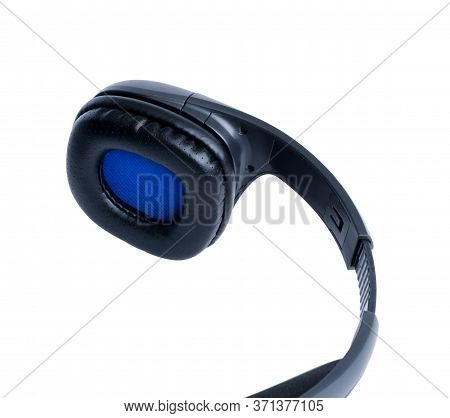 Fragment Of Black Headset. Shadowless Isolated On White Background. Close-up