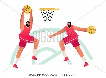 Basketball Players Throw The Ball Into The Basket With A Ring. Basketball. Olympic Sports Game With