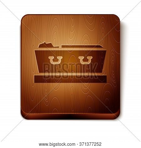 Brown Open Coffin With Dead Deceased Body Icon Isolated On White Background. Funeral After Death. Co