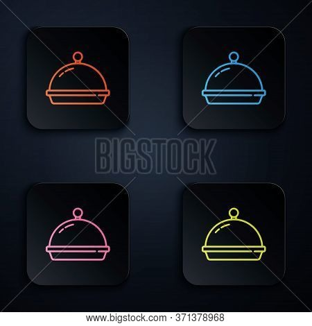 Color Neon Line Covered With A Tray Of Food Icon Isolated On Black Background. Tray And Lid. Restaur