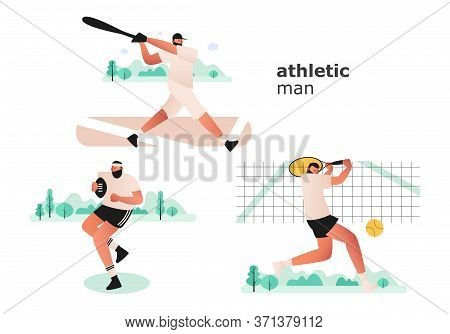 A Set Of Athletes From Different Sports. A Tennis Player Hits The Ball With A Racket. Attacking A Ru