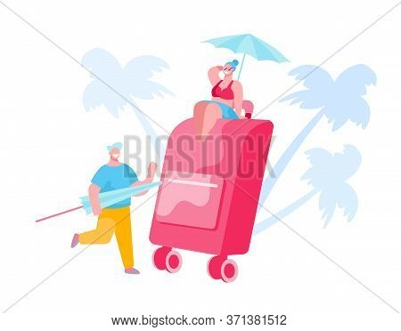 People Packing Suitcase For Summer Vacation Trip. Tiny Woman In Swim Suit Sit On Huge Luggage Under