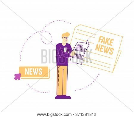 Fake News Concept. Man Character Reading Newspaper Isolated On White Background, Mass Media Worldwid