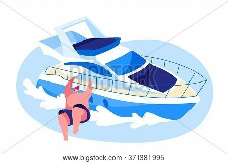 Young Man Relaxing On Luxury Yacht At Ocean. Summertime Vacation, Happy Male Character Resting On Sh