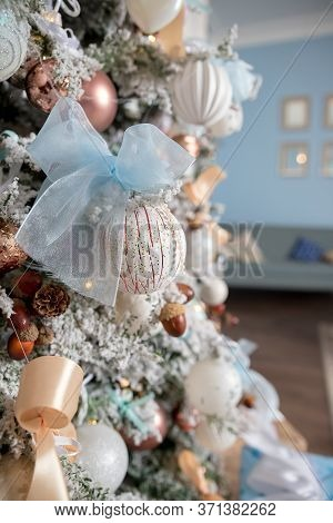Pastel Colored Decoration For Christmas.decorative Christmas Tree, Golden Candlestick, Bauble And Go