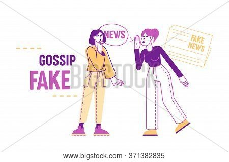 Fake News Concept. Women Characters Telling Gossips And Scandal Tales To Each Other On Street. Peopl