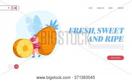 Tropical Fruits Diet Landing Page Template. Woman Rolling Huge Pineapple Slice, Tiny Female Characte