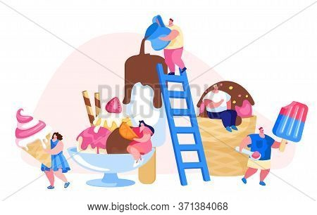 Tiny Characters On Ladders Decorate Ice Cream. Summer Time Food, Delicious Sweet Dessert, Cold Meal.